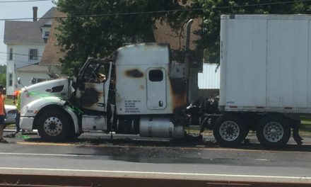 Tractor Trailer Fire Stops Traffic on Rt. 13 in Painter Monday