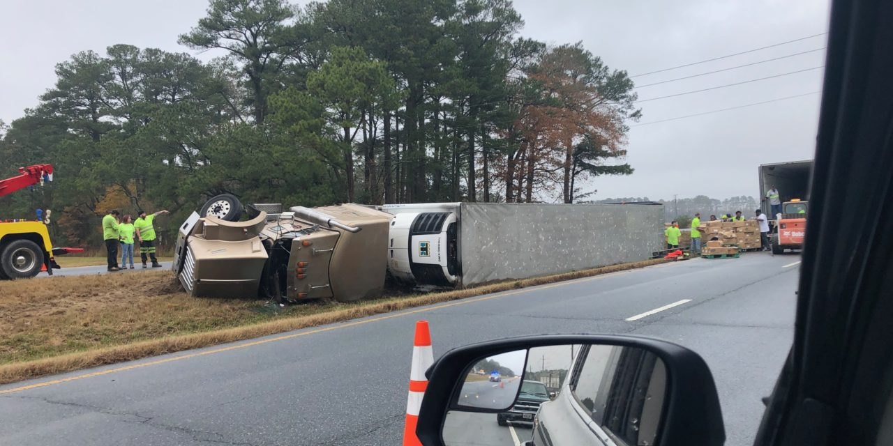 Tractor Trailer Overturns Near Whispering Pines Intersection