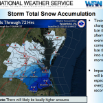 Latest National Weather Service briefing: 2-3 inches in lower Northampton, less than 1 in Accomack