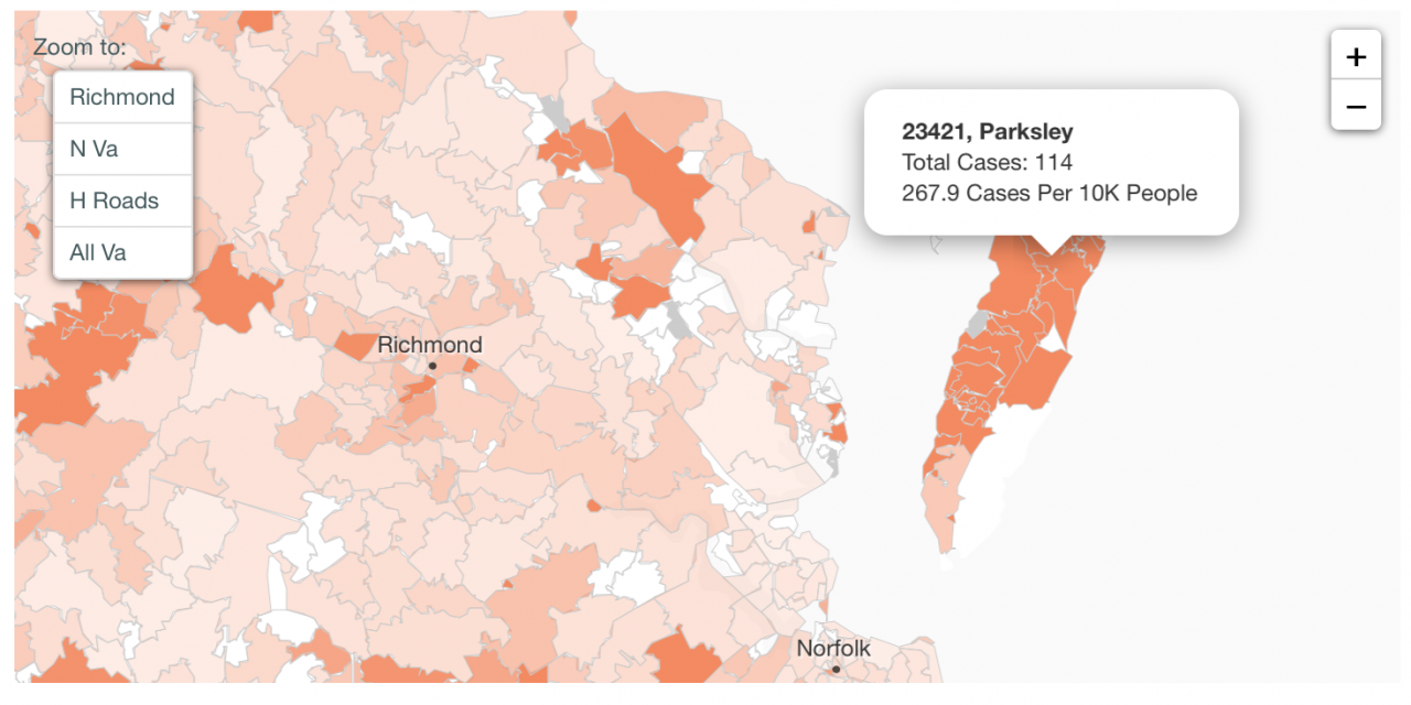 Eastern Shore  COVID-19 numbers by zip codes and percentages