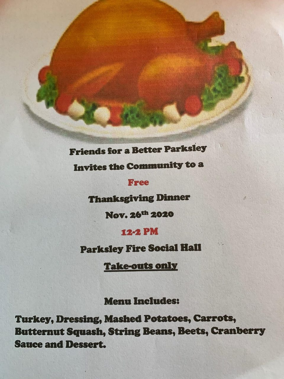 Free Thanksgiving Dinner Parksley
