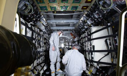 Cygnus spacecraft being loaded for Saturday launch from Wallops Flight Facility