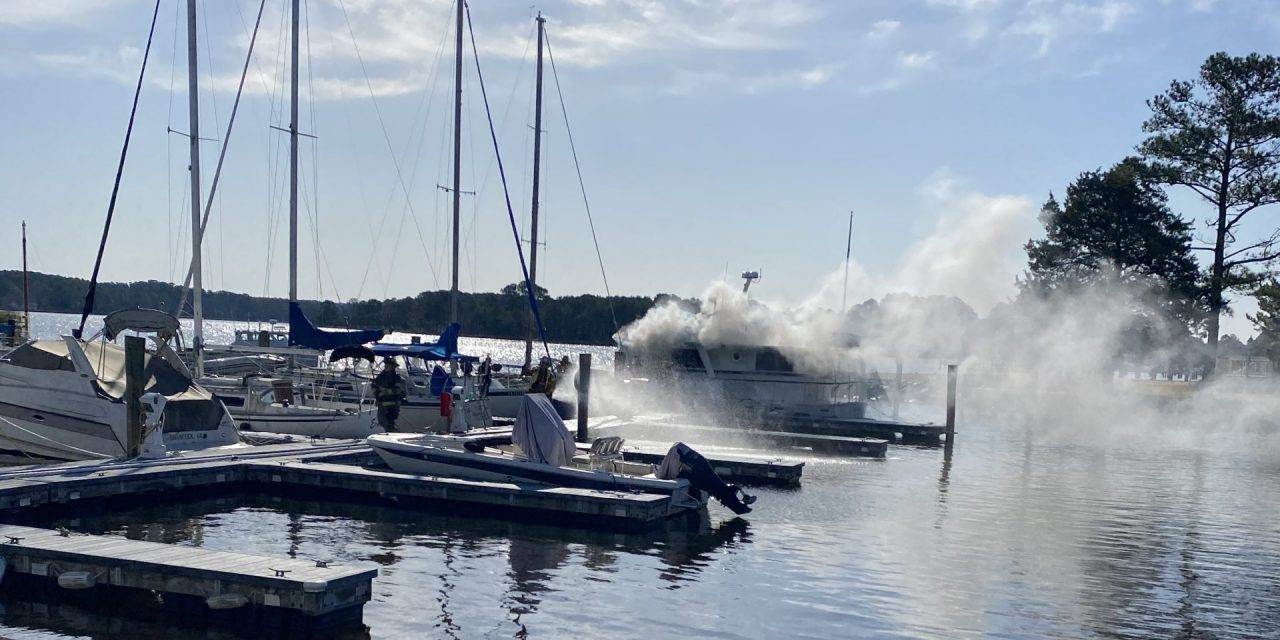 Fire damages boat at East Point Marina