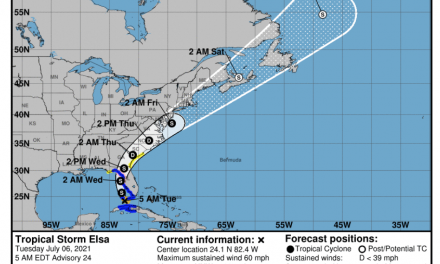 A weakened Tropical Storm Elsa could affect our area early Friday